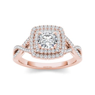 De Couer 14k Rose Gold 1 1/10ct TDW Diamond Double Halo Criss-cross Shank Engagement Ring (H-I, I2)