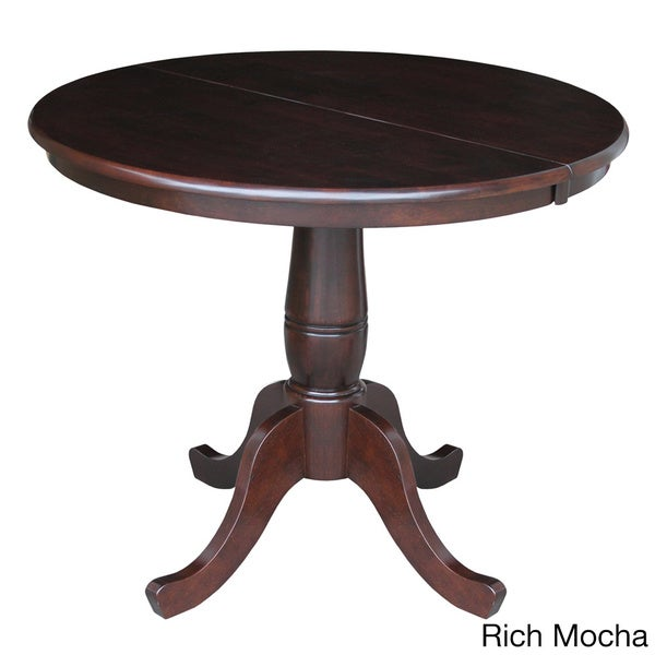 Round 36 inch pedestal table with 12 inch leaf overstock for Round pedestal table with leaf