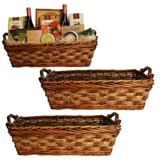 Carved Willow Basket with Handles (Set of 3)