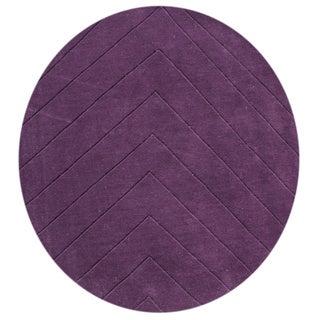 Alliyah Hand-loomed Purple Wine New Zealand Wool Rug (6' Round)