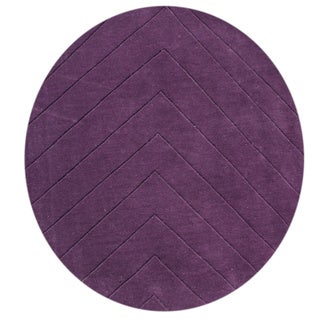 Alliyah Hand-loomed Purple Wine New Zealand Wool Rug (4' Round)