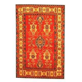 Herat Oriental Afghan Hand-knotted Tribal Kazak Red/ Beige Wool Rug (4'4 x 6'6)