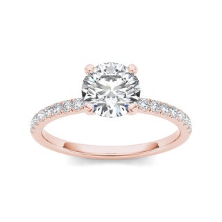 De Couer 14k Rose Gold 1ct TDW Diamond Classic Engagement Ring (H-I, I2)