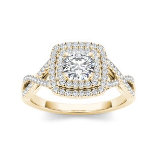 De Couer 14k Yellow Gold 1 1/10ct TDW Diamond Double Halo Criss-cross Shank Engagement Ring (H-I, I2)