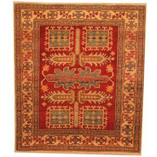 Herat Oriental Afghan Hand-knotted Kazak Red/ Beige Wool Rug (4' x 4'6)