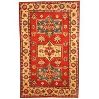 Herat Oriental Afghan Hand-knotted Kazak Rust/ Beige Wool Rug (4' x 6'5)