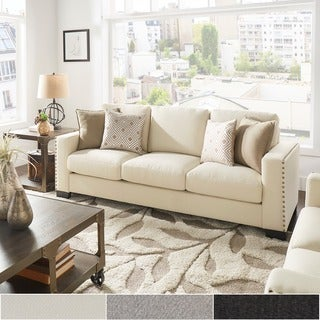 INSPIRE Q Torrington Linen Nailhead Track Arm Sofa