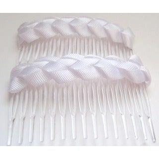 Crawford Corner Shop White Braided Comb Hair Accessory
