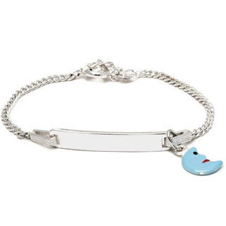 Sterling Silver Children's Light Blue Enamel Half Moon Charm ID Bracelet