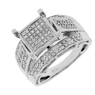 Sterling Silver 1/3ct TDW Square-set Paved Diamond Ring (G-H, I2-I3)