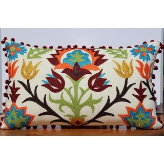 Auburn Textiles Pom Pom Embroidery Decorative Throw Pillow