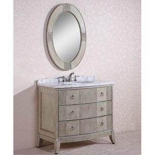 Carrara White Marble Top Single Sink Bathroom Vanity w/ Oval Mirror