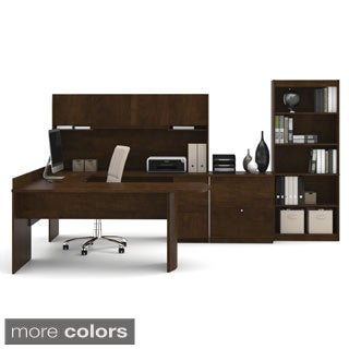 Bestar Executive U-shaped Workstation with Lateral File and Bookcase