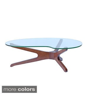 Sculpted Wood Glass Coffee Table