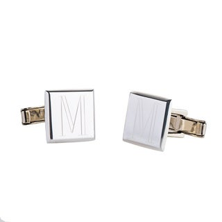 Handcrafted .925 Sterling Silver Monogrammed Square Cuff Links (Mexico)