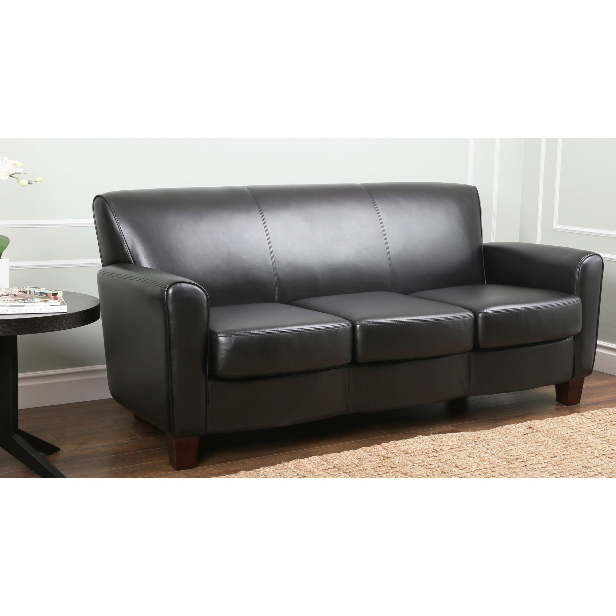 Abbyson living easton black leather sofa overstock for Easton leather sectional sofa