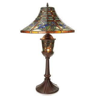 Tiffany-style Floral Lantern Double Lit Table Lamp