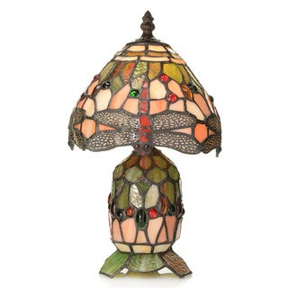 Tiffany-style Divina Dragonfly Double Lit Petite Accent Lamp