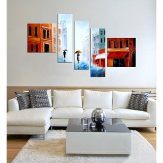 Hand-painted 'City in the Rain' 5-piece Gallery-wrapped Canvas Art Set