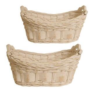 Wald Imports Whitewash Split Willow Baskets (Set of 2)