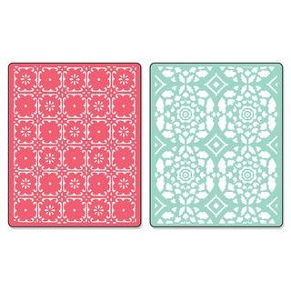 Sizzix Textured Impressions Fleur Tile & Kaleidoscope Crescents Embossing Folders Set by Dena Designs