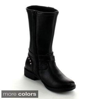 Betani Elisa-2 Kid Girl'S Studded Buckle Side Zipper Flat Riding Knee High Boot