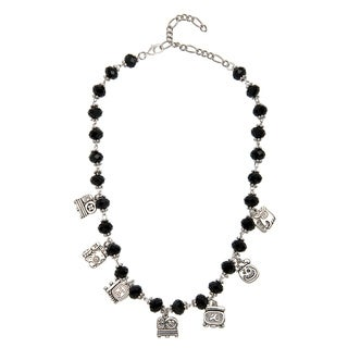 Black Crystal Necklace with Mayan Alphabet Charms (Guatemala)