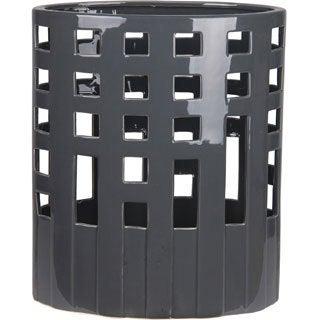 Large Dark Grey Geo Ceramic Vase