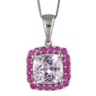 Anika and August D'Yach 14k White Gold Kunzite and Pink Sapphire Pendant