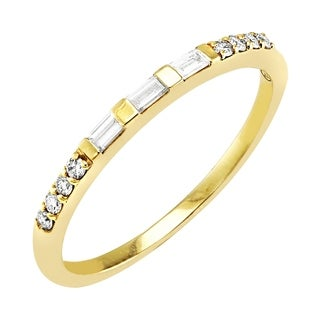 Beverly Hills Charm 14k White Gold 1/5ct TDW Baguette and Round Diamond Band Ring (H-I, SI2-I1)