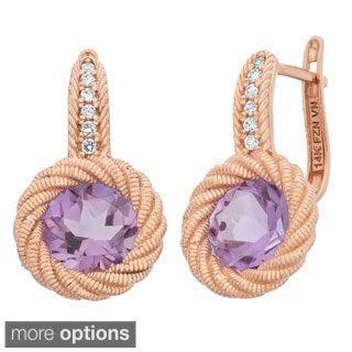 Gioelli 14k Rose Gold Textured Omega Gemstone Rope Earrings