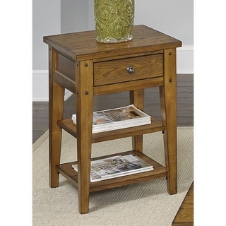 Liberty Lake House Transitional Oak Chair Side Table