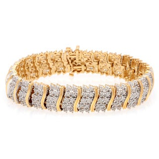 Gold over Silver 2ct TDW Diamond Bracelet (J-K, I2-I3)
