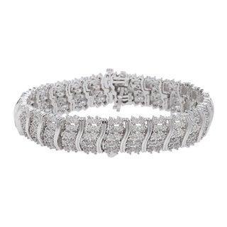 Sterling Silver 2ct Prong-set White Diamond Bracelet (J-K, I2-I3)