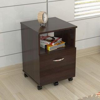 Mobile Single-drawer Espresso File Cabinet