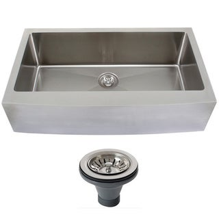 Ticor 4415BG-DEL 33-inch 16-gauge Curved Front Single Bowl Stainless Steel Undermount Farmhouse Apron Kitchen Sink