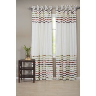 Multi-colored Cotton Bella Ruffle Tab Top Curtain Panel Pair