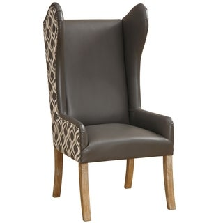 Lund Leather and Fabric Grey Arm Chair