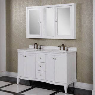 Carrara White Marble Top 60-inch Double Sink Bathroom Vanity with Wall Mirror Cabinet