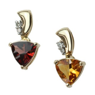MV 10k or 14k Yellow Gold Citrine or Garnet and Diamond Accent Pendant