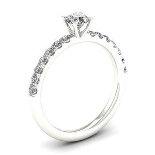 De Couer 14k White Gold 3/4ct TDW Diamond Classic Engagement Ring (H-I, I2)