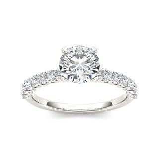 De Couer 14k White Gold 1ct TDW Round-cut White Diamond Engagement Ring (H-I, I2)