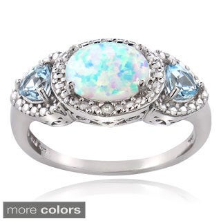 Glitzy Rocks Sterling Silver Created Opal Gemstone and Diamond Accent Ring
