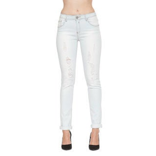 365 Denim Women's Bleached White Distressed Straight-leg Jeans