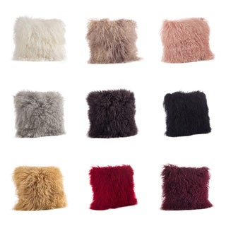 Mongolian Fur Down-Filled 16-inch Throw Pillow