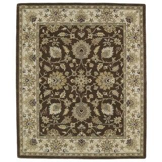 Hand-tufted Anabelle Chocolate Kashan Wool Rug (8' x 11')