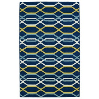 Hollywood Flatweave Navy Stripes Rug (9' x 12')