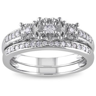 Miadora 10k White Gold 1/4ct TDW Diamond 3-stone Bridal Ring Set (H-I, I2-I3)