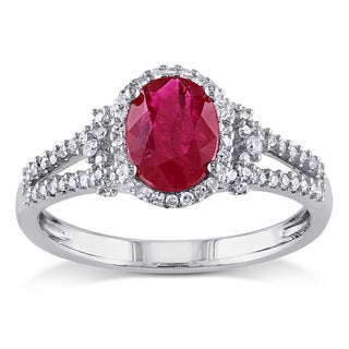 Miadora 10k White Gold Rose-cut Ruby and 1/4ct TDW Diamond Cocktail Ring (G-H, I1-I2)