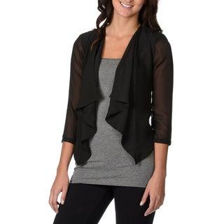 Lennie for Nina Leonard Women's Black 3/4-sleeve Sheer Shrug